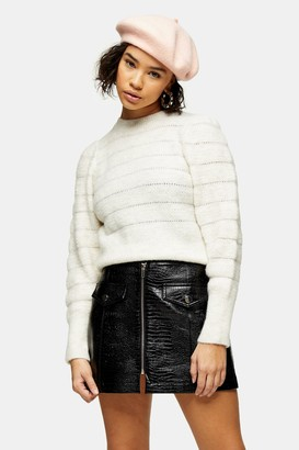 Topshop Womens Petite Oat All Over Pretty Knitted Jumper - Oatmeal