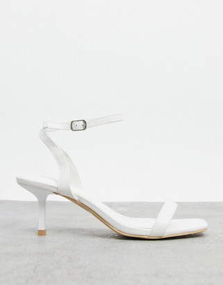 Glamorous ankle strap sandals in white