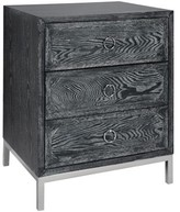 The Well Appointed House Worlds Away Penelope Black Cerused Oak 3 Drawer Side Table with Nickel Hardware