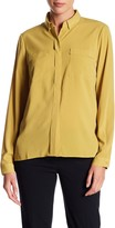 Adrienne Vittadini Chest Pocket Button Up Blouse