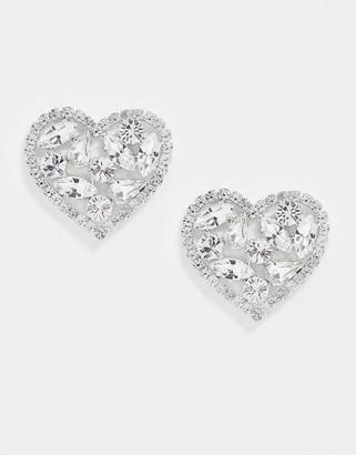 Krystal London Swarovski Crystal Mega Filled Heart Earrings