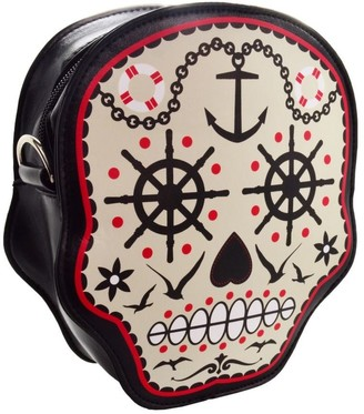 Banned Prime Time Sugar Skull Day of The Dead Rockabilly Tattoo Goth Shoulder Bag