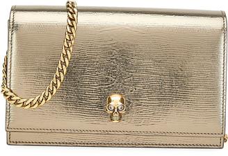 Alexander McQueen Mini Metallic Crossbody Bag with Small Skull