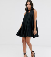 Asos Tall DESIGN Tall pleated mini dress with high neck