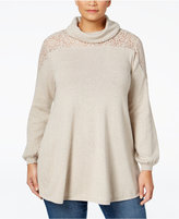 Style&Co. Style & Co. Plus Size Lace-Trim Sweater, Only at Macy's