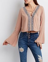 Charlotte Russe Embroidered Lace-Up Crop Top