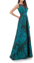 Carmen Marc Valvo Women's Embellished Illusion Neck Print Ballgown