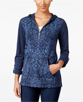 Style&Co. Style & Co. Petite Printed Hooded Top, Only at Macy's