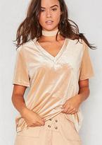 Missy Empire Honey Beige V Neck Velvet T-Shirt