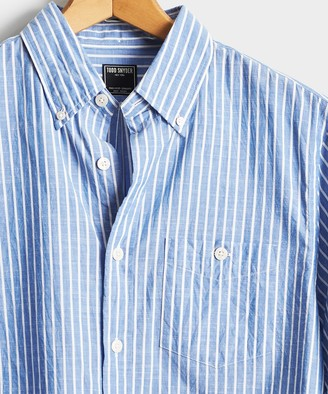 Todd Snyder Blue with White Button Down Collar Stripe Long Sleeve
