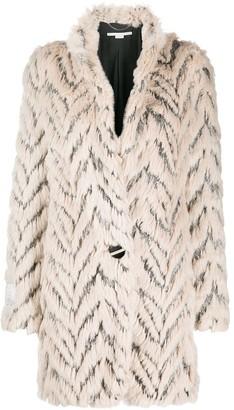 Stella McCartney Fur Free Fur chevron-stripe coat
