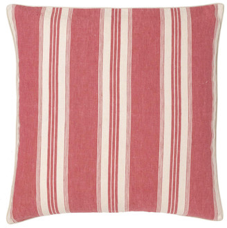 OKA Pennant Stripe Linen Cushion Cover, Large - Red