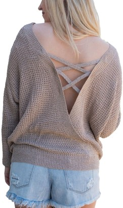 Actloe Women Criss Cross Backless Sweater Long Sleeve Knit Pullover Tops Khaki Large