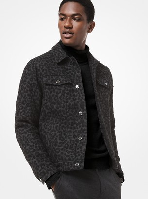 Michael Kors Leopard Wool Trucker Jacket