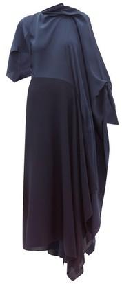 Roland Mouret Calhern Asymmetric Draped Silk And Wool Dress - Womens - Navy