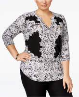 INC International Concepts Plus Size Printed Zip-Pocket Shirt, Created for Macy's