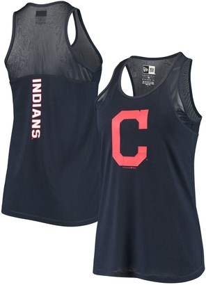 New Era Women's Navy Cleveland Indians Mesh Insert Jersey Tank Top