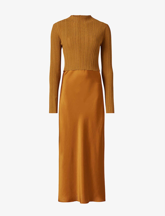 AllSaints Karla double-layered stretch-jersey and satin midi dress