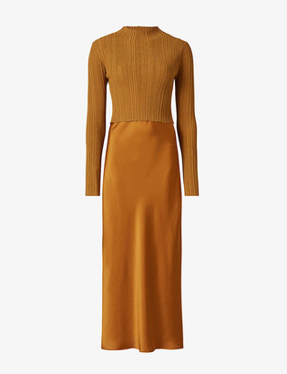 AllSaints Karla double-layered stretch-jersey and satin midi dress