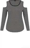 City Chic Striped Cold Shoulder Top
