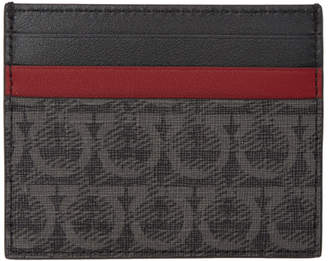 Salvatore Ferragamo Black and Grey Travel Card Holder