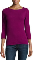 Neiman Marcus Cashmere Boat-Neck Pullover Sweater, Pink