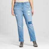 Earl Jean Women's Plus Size Destructed Boyfriend Jean Blue - Earl Jeans