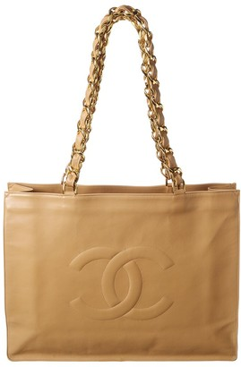 Chanel Beige Quilted Lambskin Leather Flat Chain Handle Tote