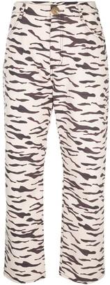 REJINA PYO Tiger Print Straight Trousers