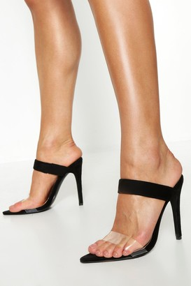 boohoo Clear Strap Pointed Toe Mules