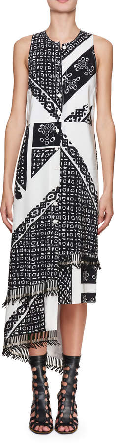Altuzarra Pavilion Sleeveless Button-Front Bandana-Print Silk Midi Dress