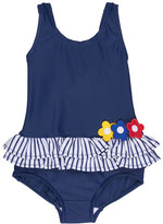Florence Eiseman Skirted Floral One-Piece Swimsuit, Blue, Size 2T-6X