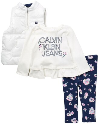 Calvin Klein Logo Vest, Long Sleeve Ruffled T-Shirt, & Leggings Set
