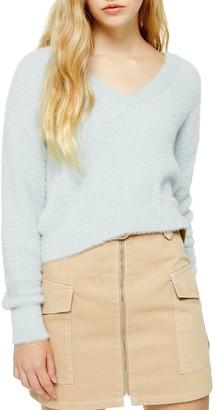 Topshop Fluffy V-Neck Super Crop Sweater