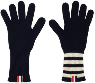 Thom Browne Navy 4-Bar Rib Gloves