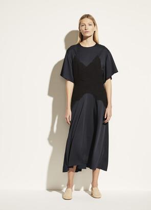 Vince Lace Applique Satin Dress