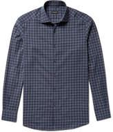 Ermenegildo Zegna Slim-fit Windowpane-checked Cotton Shirt - Storm blue