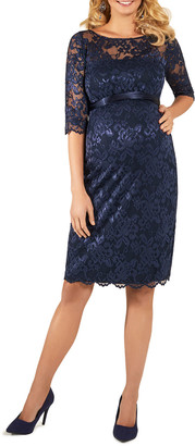Tiffany Rose Maternity Amelia Scalloped Lace Dress with Satin Sash