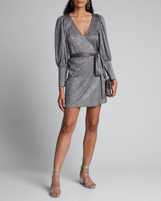 Rhode Resort Frankie Metallic Long-Sleeve Wrap Dress