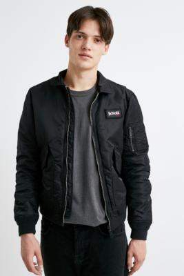 Schott 210 100 Black Bomber Jacket - black S at Urban Outfitters