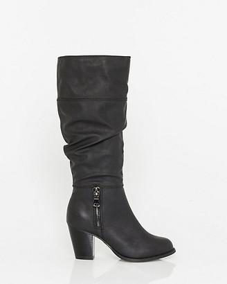 Le Château Faux Leather Almond Toe Knee-High Boot