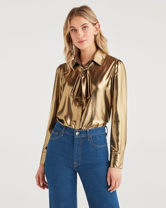 7 For All Mankind Satin Neck Tie Top in Liquid Gold