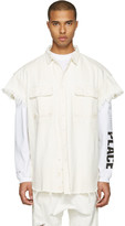 R 13 White Denim Oversized Cut-out Trucker Shirt