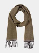 Burton Burton Khaki Wool Blend Herringbone Woven Scarf