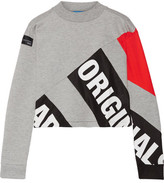 adidas Printed Bonded Mesh And Cotton-blend Sweatshirt - Gray