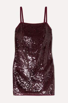 STAUD Minnie Sequined Chiffon Mini Dress - Merlot
