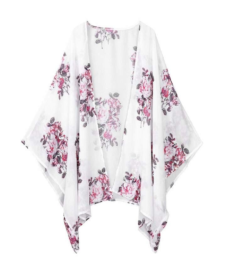 Flower Open Front Shawl Kimono Coat Jackets Blouse Tops Cover Up Flare Sleeve Beachwear nanzhushangmao Marker Boards Chiffon Cardigan Coaches' & Referees' Gear