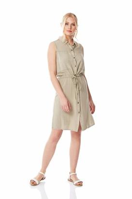 Roman Originals Women Drawstring Waist Shirt Dress - Ladies Smart Casual Work Office Wear Day A-Line Fit and Flare Floaty Sleeveless Workwear Mini Shirts Dresses - Khaki - Size 14