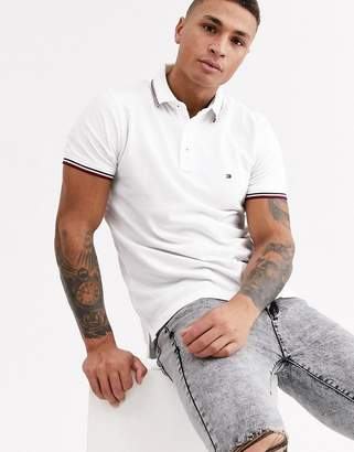 Tommy Hilfiger tipped slim polo shirt-White