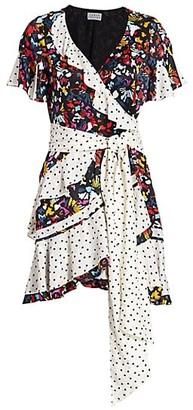Tanya Taylor Bianka Combo Silk Wrap Dress
